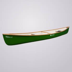 Das grüne Kanu Wekiva 16 der Marke Indian Canoe bietet zwei Personen und einem Kind Platz. Zusätzlich gibt es Kniematten und Stechpaddel.