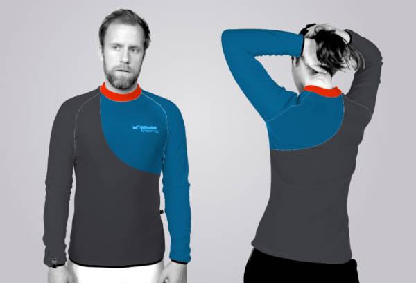 Das TOASTED THERMIC - Shirt im 2Color - Schnitt: die Front und der Rücken sind geteilt und die Ärmelfarben sind links und rechts jeweils wählbar.