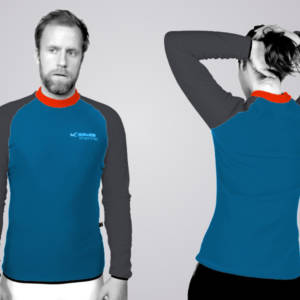 Das TOASTED THERMIC - Shirt im Standard - Schnitt: die Front und der Rücken sind ungeteilt und die Ärmelfarben sind links und rechts jeweils gleich.