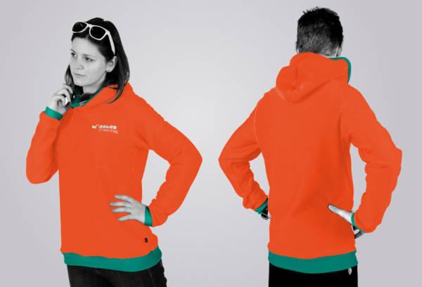 Eines unserer Hoodie - Designs: der Standard - Schnitt in den Farben coraline - blu.