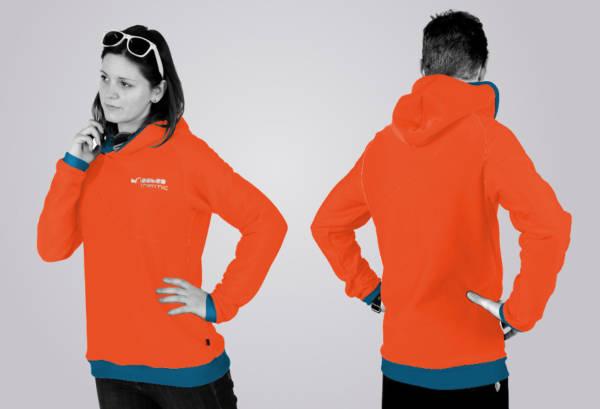 Eines unserer Hoodie - Designs: der Standard - Schnitt in den Farben coraline - duck blue.