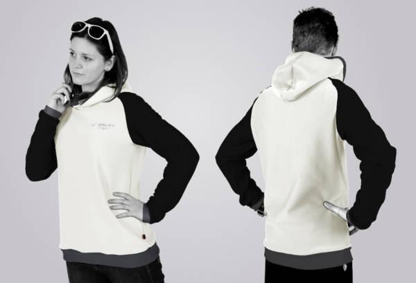 Eines unserer Hoodie - Designs: der Standard - Schnitt in den Farben white - black - ombre blue.