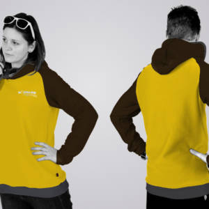 Eines unserer Hoodie - Designs: der Standard - Schnitt in den Farben lime - brown heather - ombre blue.