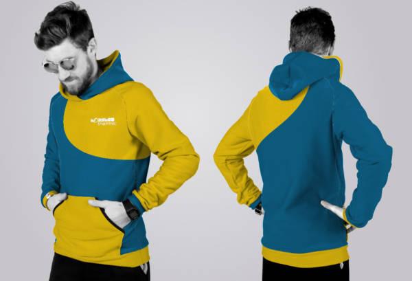 Der TOASTED THERMIC - Hoodie im 2Color - Schnitt mit Tasche: die Front und der Rücken sind geteilt und können somit unterschiedlich gefärbt werden. Die Ärmel- und Bündchenfarben sind links und rechts jeweils wählbar. Auf der Front ist eine Tasche.